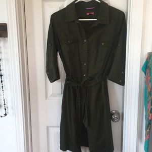 Button down olive green dress